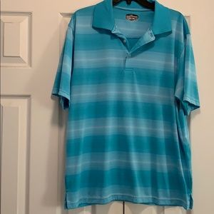 Polo shirt, turquoise and white